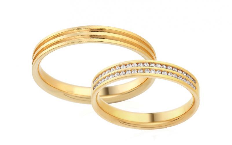 Diamantové snubní prstýnky 0,220 ct Yasmine diamonds 3,5 mm žluté IZOBBR005