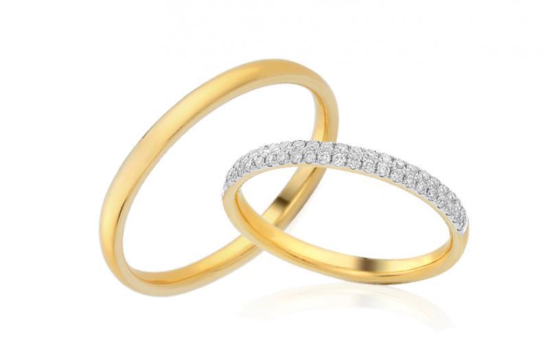 Diamantové snubní prstýnky 0,230 ct Yasmine diamonds 2,6 mm žluté IZOBBR019