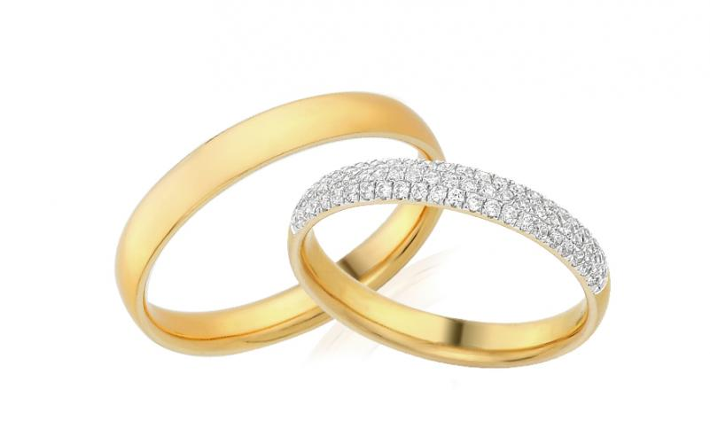 Diamantové snubní prstýnky 0,330 ct Yasmine diamonds 3,6 mm žluté IZOBBR018