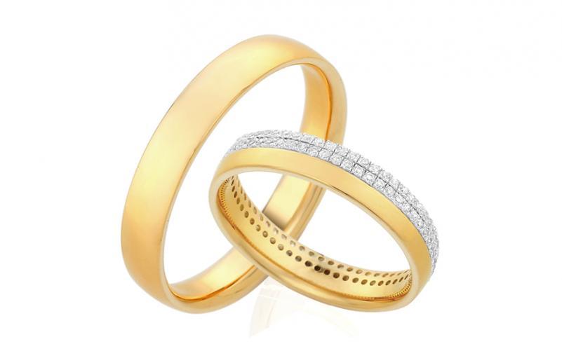 Diamantové snubní prstýnky 0,480 ct Yasmine diamonds 4 mm žluté IZOBBR004