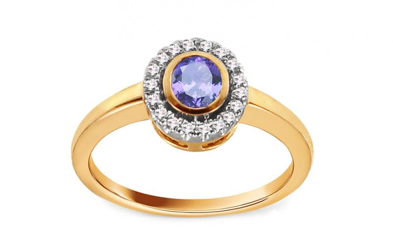 Diamantový prsten 0.090 ct s tanzanitem Flame of Love KU191