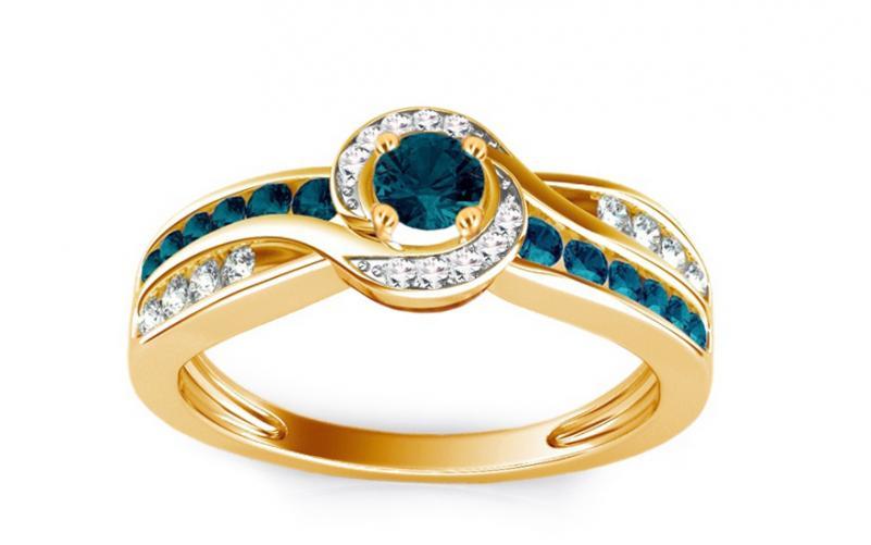 Luxusní prsten s 0,640 ct modrými diamanty Blue Lagoon KU109Y