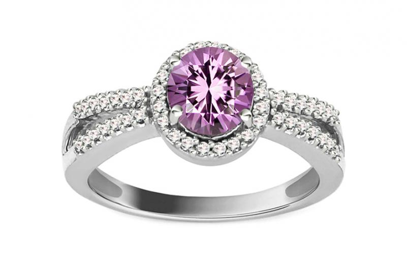 Diamantový prsten s ametystem Domenica KU0092A