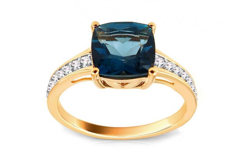 Diamantový prsten s London Blue topasem Monique KU441