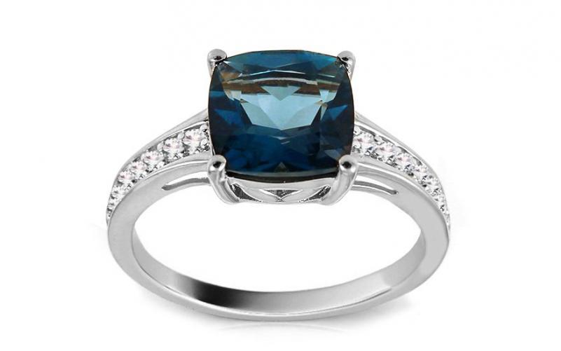 Diamantový prsten s London Blue topasem Monique white KU441A