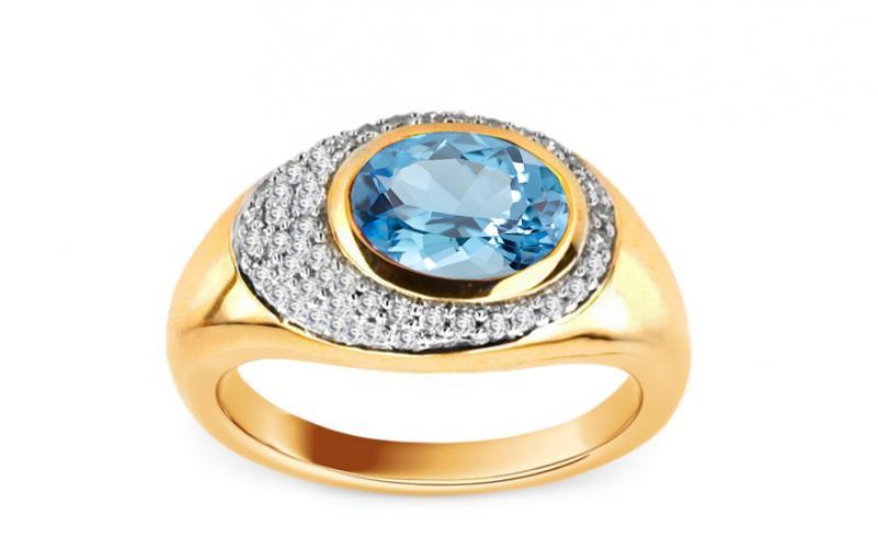 Diamantový prsten s topasem KU165Y