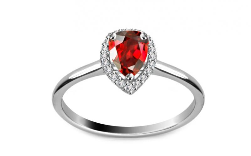 Diamantový prsten 0,080 ct Victorian red Drop DM017APR