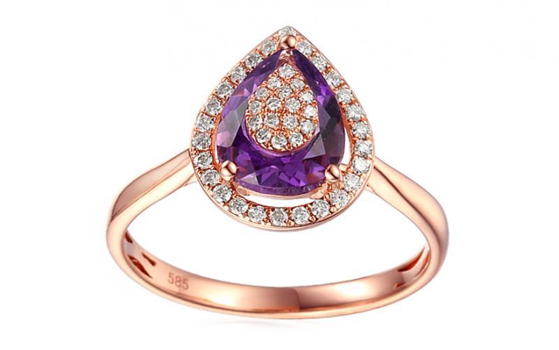 Diamantový zásnubní prsten s ametystem Ariana Rose IZBR080RP