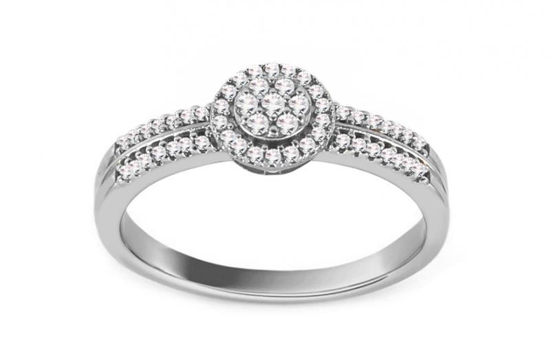 Diamantový zásnubní prsten z bílého zlata 0,120 ct Desirea KU734A