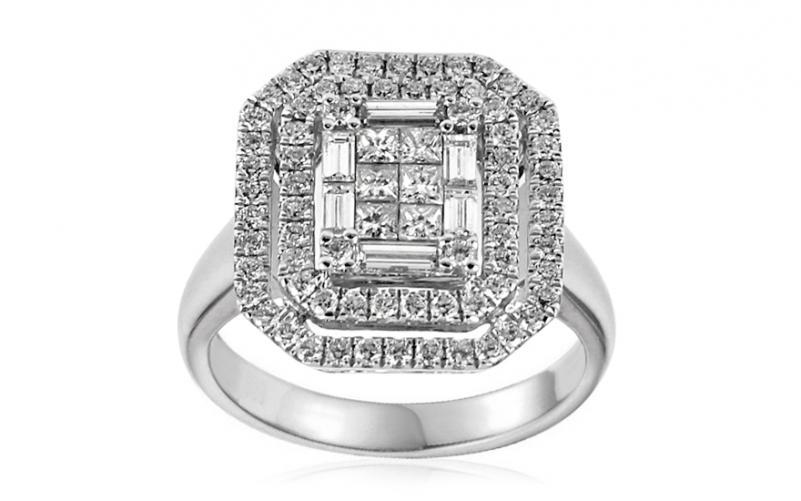 Exkluzivní zásnubní prsten s baguette a princess diamanty 0.630 ct Margot IZBR311A