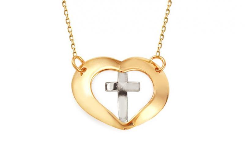 Náhrdelník s křížem v srdci IZ11525