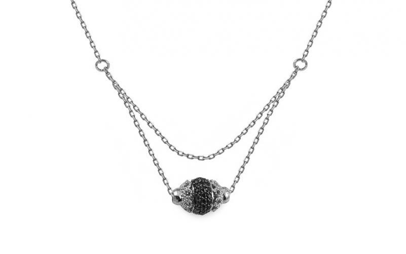 Náhrdelník z bílého zlata s černými zirkony Carinna IZ13249A