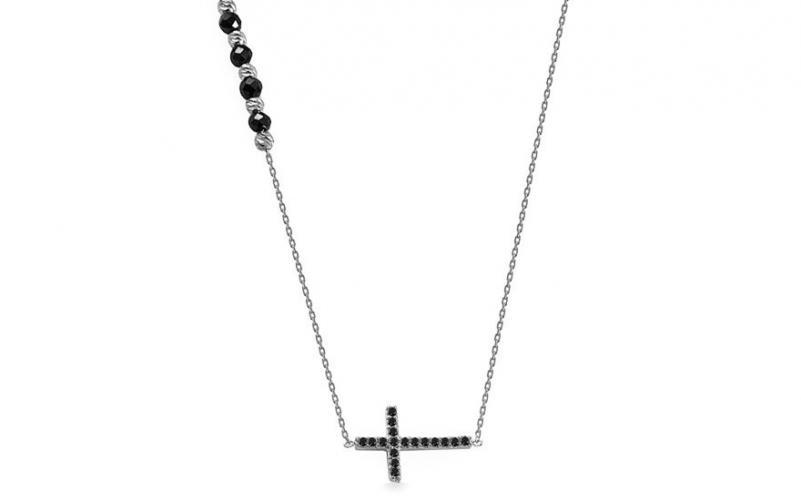 Náhrdelník z bílého zlata s křížkem a černými zirkony IZ14113AB
