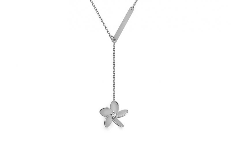 Náhrdelník z bílého zlata s kvítkem a destičkou Flowery IZ14513A