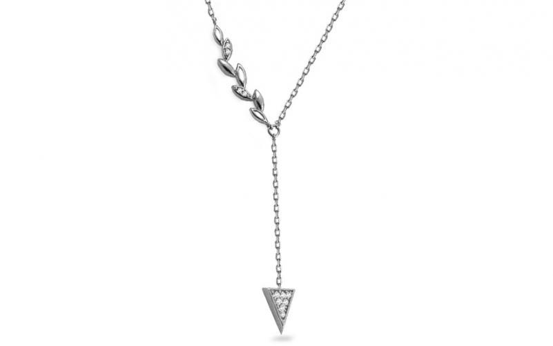 Náhrdelník z bílého zlata s lístky a trojúhelníkem Deiondre IZ14500A