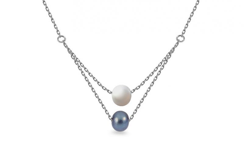 Náhrdelník z bílého zlata s perlami Perllia IZ13216A
