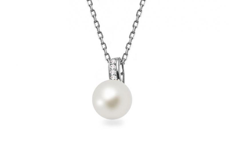 Náhrdelník z bílého zlata s perlou Malvina IZ13197AR