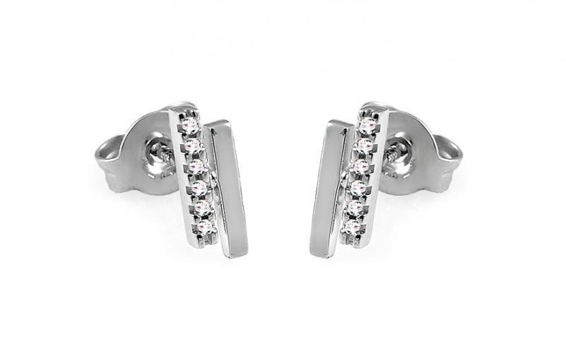 Náušnice z bílého zlata s diamanty 0,040 ct Aglaia DB0108A