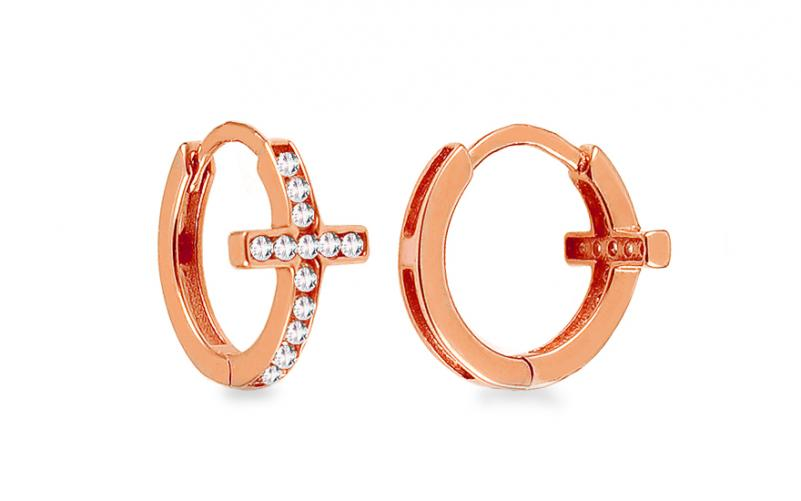 aa8bd4605 Náušnice z červeného zlata s křížkem a zirkony kroužky IZ14380R