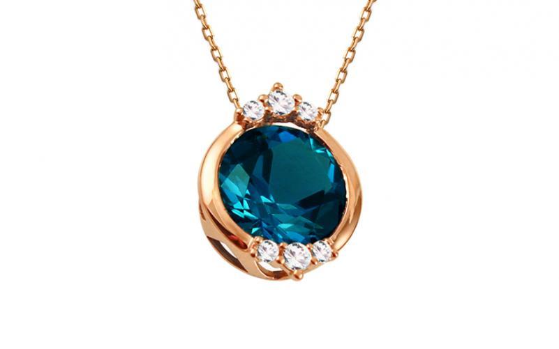 Přívěsek s Londom Blue topasem a diamanty 0,120 ct Catelyn DB0055RP