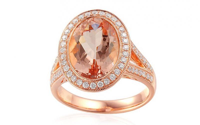 Prsten s morganitem a diamanty Odette IZBR021R