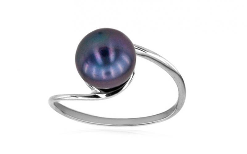 Prsten s perlou švestkové barvy 8 mm Inez 8 IZ6043