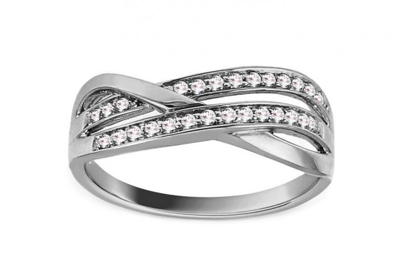 Prsten z bílého zlata s diamanty 0,150 ct Alysa ROYBR067A