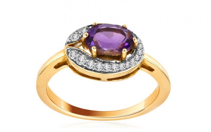 Ametystový prsten Amerei s 23 diamanty 0,240 ct KU0004