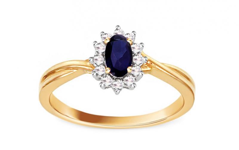 Safírový prsten s 0,100 ct brilianty Mio KU100