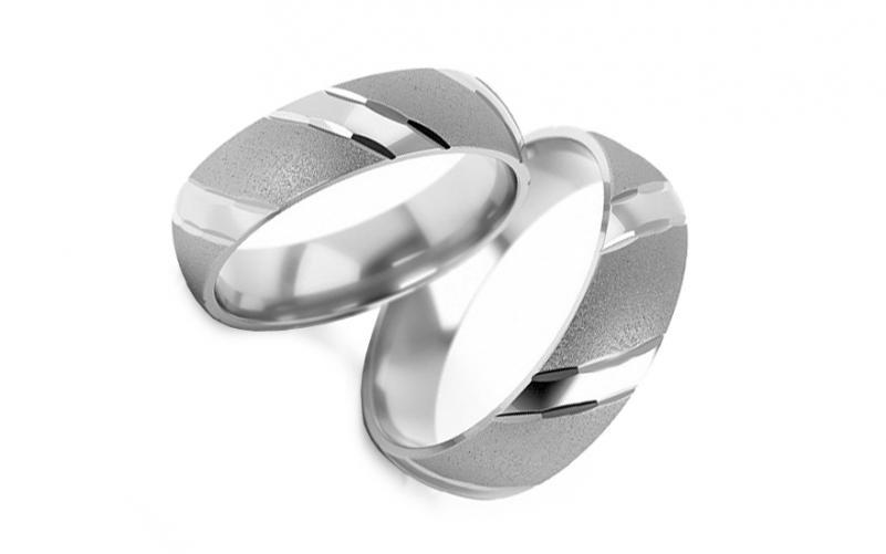Snubní bílé prsteny matované šířka 3 až 10 mm STOB001