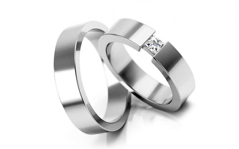 Snubní prsteny s kamínkem šířka 4 mm STOB164-4