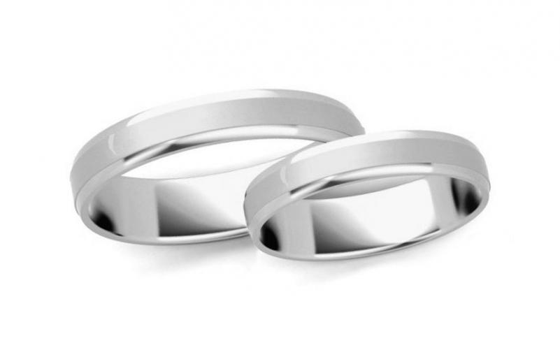 Snubní prstýnky z bílého zlata s fázovaným profilem, šířka 3 mm IZOB60-3A