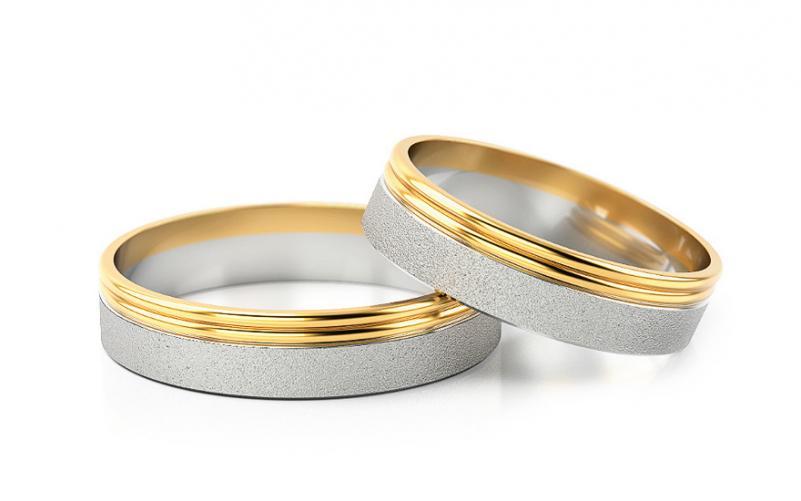 Snubní prsteny dvoubarevné šířka 4 mm STOB088-4