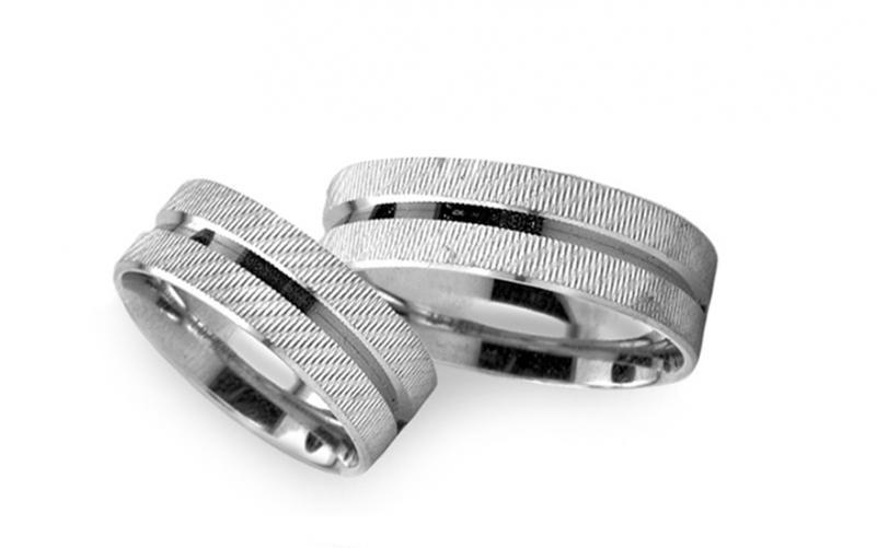 Snubní prstýnky bílé zlato šířka 5 mm RYOB261