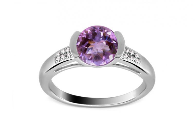 Luxusní prsten s 12 diamanty 0,050 ct a ametystem ardiente 10 KU0022