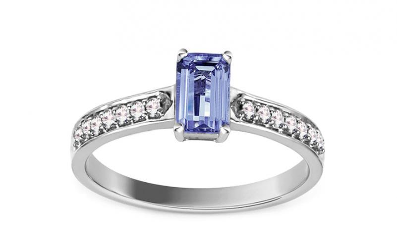 Zásnubní prsten s tanzanitem a diamanty 0,130 ct Isaura KU599