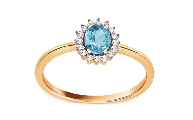 Zásnubní prsten s topasem a diamanty 0,070 ct Naula VKBR022