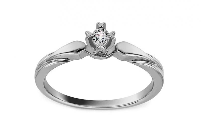 Zásnubní prsten z bílého zlata s diamantem 0,010 ct Vicia KU915A