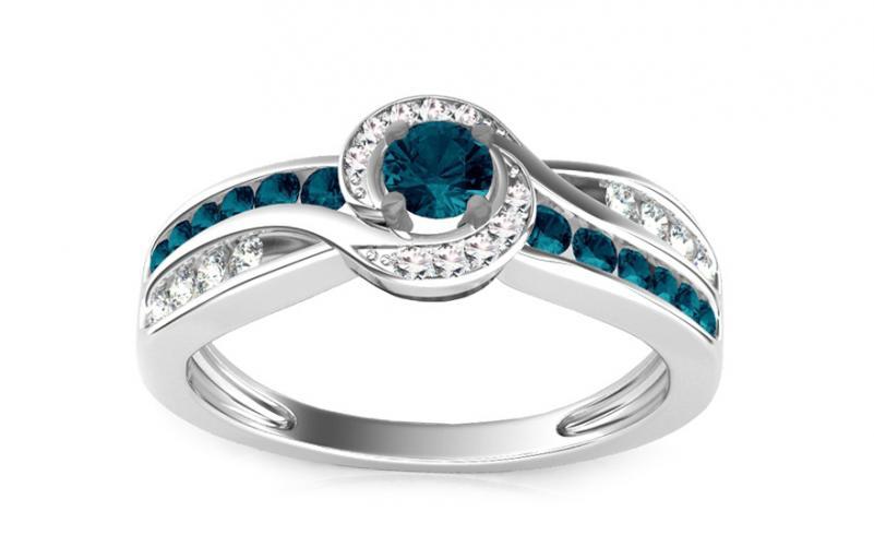 Luxusní prsten s 0,610 ct modrými diamanty Blue Lagoon KU109