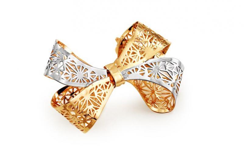 Zlatá dvoubarevná brož Mašle IZ11422