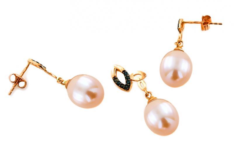 Zlatá perlová souprava Beatris pink IZ7742