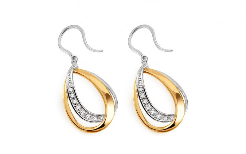 4720fae4b Zlaté dvoubarevné náušnice s diamanty 0,080 ct Fabulous Drops DB0063ZN