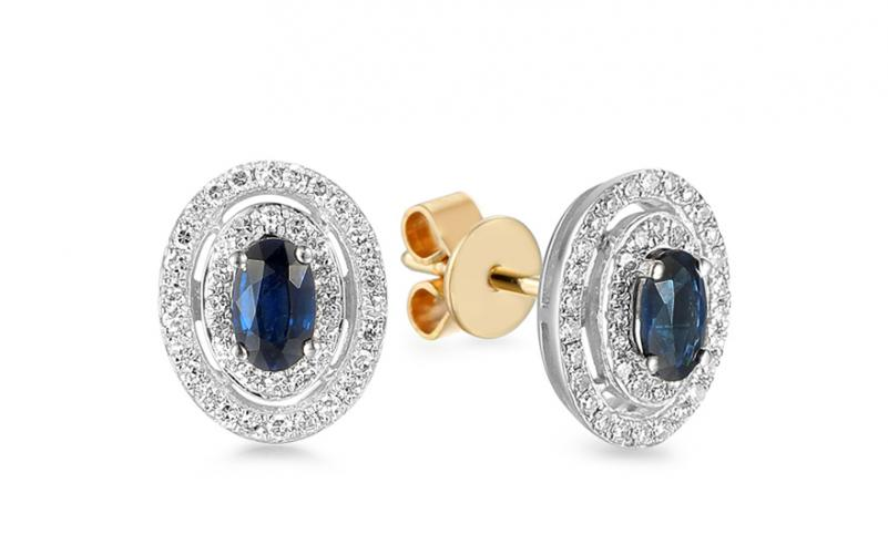 Zlaté dvoubarevné náušnice se safíry a diamanty 0.240 ct Christel IZBR561N