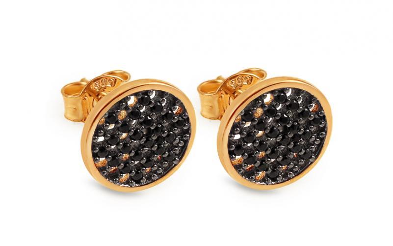 Zlaté kulaté náušnice pecky s černými zirkony IZ14239