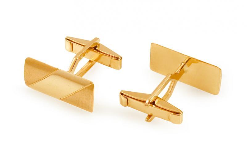 Zlaté manžetové knoflíčky obdélníkové s matováním IZ11498