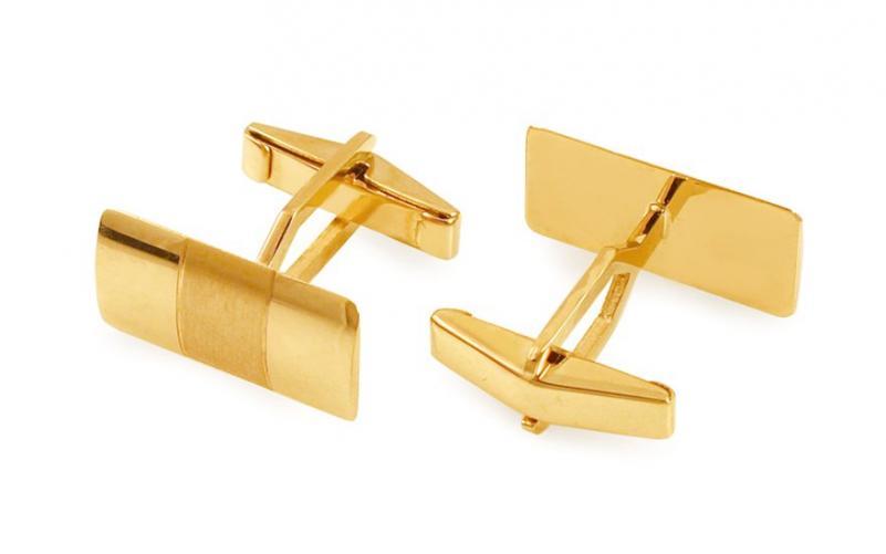 Zlaté manžetové knoflíčky obdélníkové s matováním IZ11501