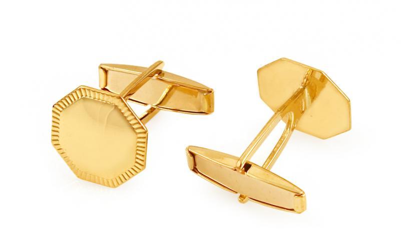 Zlaté manžetové knoflíčky osmihranné s gravírováním IZ11500