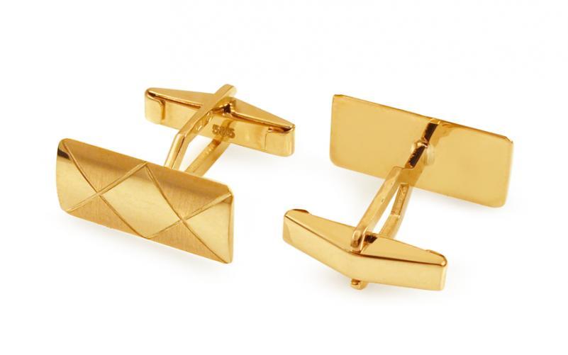 Zlaté manžetové knoflíky s kosočtvercovým vzorem IZ11502