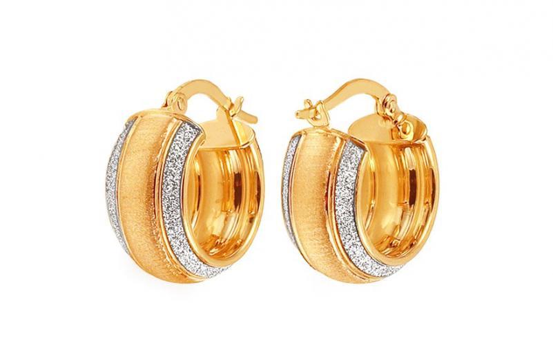 Zlaté náušnice kroužky kombinované 1,6 cm IZ11783M
