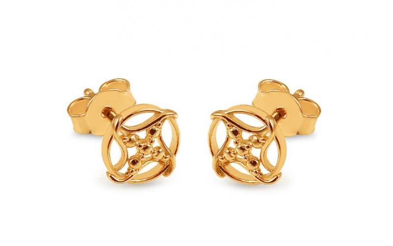 Zlaté náušnice pecky s hvězdicí IZ13448
